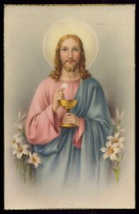 JESUS w/ HOLY CHALICE LILIES Vtg GOLD EDGE HOLY CARD POSTCARD