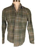 Michael Bastian Mens Green Plaid Corduroy Long Sleeve Shirt L