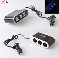 12V/24V USB Port 3 Way Socket Car Cigarette LED Lighter Adapter Charger Splitter