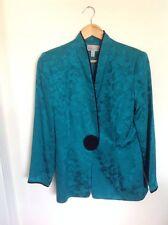 adrianna papell Teal Green Vintage jacket Size 10 blazer silk flowers korea