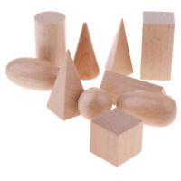 1 Juego de Bloques Geométricos de Madera Maciza Pulida Montessori, Formas 3D