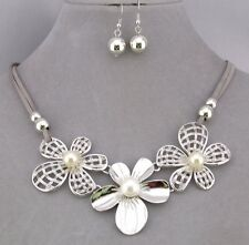 Flower Necklace Set Silver Cream Pearl Grey Suede Cord Fashion Jewelry NEW