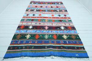 """Vintage Turkish Sivas Kilim, Modern Rug, Colorfull Handmade Wool Carpet 69""""x121"""""""