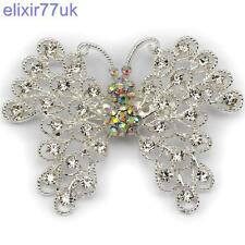 "NEW 3"" LARGE SILVER BUTTERFLY BROOCH DIAMANTE CRYSTAL BROACH WEDDING BRIDAL GIFT"