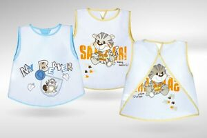 BABY BIB Akuku Waterproof Wipe Clean Baby Blue or Mini Safari Feeding Bib A0185