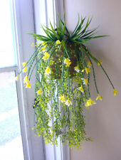 Artificial Plastic Grass Set of 4 Hanging With Yellow Flower