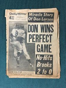 ORIGINAL Don Larsen Perfect Game Yankees NY Daily Mirror Newspaper 1956