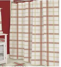 Lenox $80 Christmas Holiday Nouveau Plaid Metallic Cotton Fabric Shower Curtain
