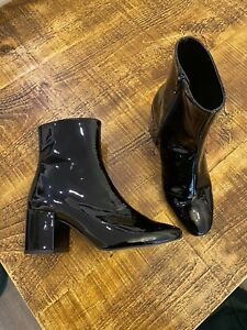 ASOS Black Patent Ankle Boots - Size 5 - RRP £49.99