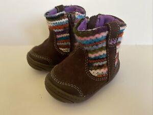 Surprize Stride Rite Toddler Girl's Adora Zip Up Boots Dark Brown Sz 2 18-24 Mo