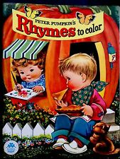 PETER PUMKIN'S RHYMES ~ UNUSED/mint Vintage 1940's Children's Coloring Book