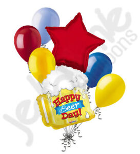 7 pc Happy Beer Day Mug Balloon Bouquet Party Decoration Birthday Drink 21st