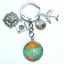 New Silver Color Cabochon Travel Discover Men/Women Key Chain Tour Lovers around