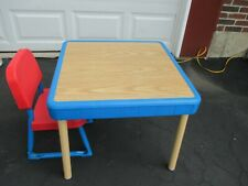 Vintage Fisher Price Arts Craft Faux Wood Play Table & One Red Chair 1985 9505