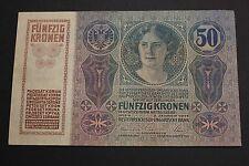 AUSTRIA 1914 50 KRONEN / 50 KORONA OSTERREICH BANKNOTE PICK#15 XF
