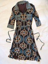 Designer HOBBS Short Sleeved Lined Summer Tea Dress Teal Blue Khaki Brown M 12