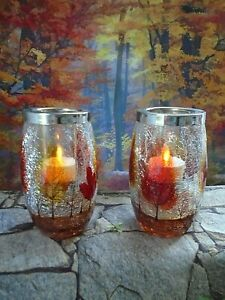 Yankee Candle Fall Autumn Trees Crackle Glass Cylinder Tealight Candle Holders