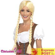 Ladies Bavarian Beauty Wig Oktoberfest Beer Wench Blonde Costume Accessories