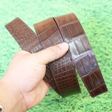 Replacement Belt No Buckle Crocodile Leather No Jointed Dark Brown, W4.0, 115cm