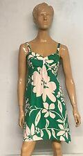 Fun Kim Rogers Green Floral Cotton Adjustable Straps Dress Size 10