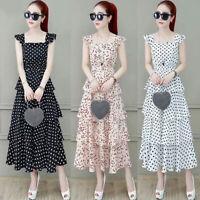 Women Chiffon Dot Dress Short Sleeve Sundress Ruffle Slim Boho Summer Dres J rs