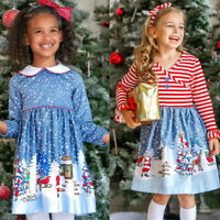 Toddler Baby Girls Kids Christmas Cartoon Splice Party Long Sleeve Dress Outfit