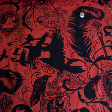 Alexander Henry Fabric After Dark Red Paprika PER METRE Skull Bones Rock Skeleto