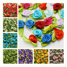 100/200P Satin Ribbon Rose Flower bud Appliques Christmas Festival Creative DIY