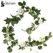 "White Rose And Hydrangea Garland 6' X 7"""