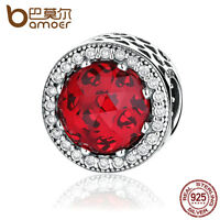 Bamoer Authentic S925 Sterling Silver Charm With Red Zircon Fitting Bracelets