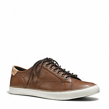 8021 Coach Mens Saddle Brown Q4097 Perkins Leather Casual Sneakers Sz 8.5 D $228