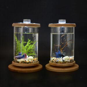 LED Mini Betta Fish Tank Small Cylinder Rotatable Aquarium Desktop Decor -
