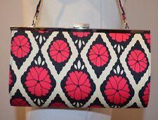 CATHERINE MANUELL Australian Designer satin evening bag strap pink black white