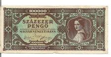 HUNGARY, 100000 PENGO  , Lady, 1945