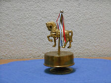 Horse on Carousel Revolving Metal Music Box Plays It's A Small World After All