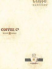 Coffee Words /  Verbage On Golden Beige Faux Wallpaper EB8907