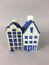 Vintage Signed Holland Delft Blue Canal Houses Ceramic Salt & Pepper Shakers