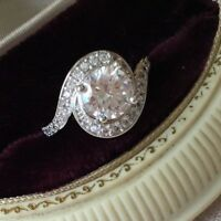 Antique Art Deco Jewellery Sterling Silver Ring White Sapphire Vintage Jewelry