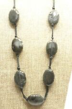 Ceramic Beads on Black Cord Necklace A4) Dark Green & Black Mottled