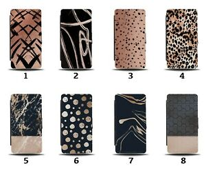 Rose Gold Flip Wallet Case Paint Splotches Marks Markings Colour Marble 8102a
