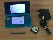 NINTENDO 3DS AQUA BLUE + CHARGER + MARIO & SONIC GAME