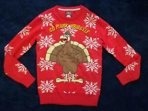 Brave Soul Christmas Turkey Jumper Size S # GO PLUCK YOURSELF #