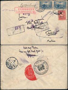 PALESTINE JERUSALEM 1917, RARE REGIST. & CENSORED OTTOMAN COVER TO AUSTRIA. #M65