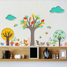 Owl Animal Wall Stickers Fox Jungle Zoo Tree Nursery Baby Kids Room Decal Art