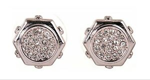 Crystals From Swarovski Hexagon Stud Earrings Rhodium Plated Authentic 7318w