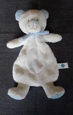 Doudou peluche ours plat blanc rond ventral pois bleu écharpe Tex Baby etat neuf