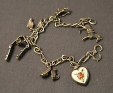 Vintage 40's Western Ranch Horse Theme Sterling Silver Cowboy Charm Bracelet