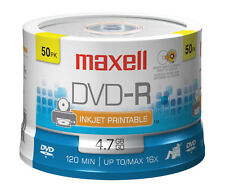 Maxell DVD-R 4.7GB 16x Hub imprimable PTC White Matte 50-Pack Spindle