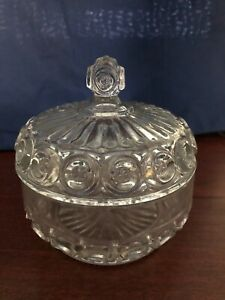 Vintage Decorative Cut Glass Candy Dish with Lid