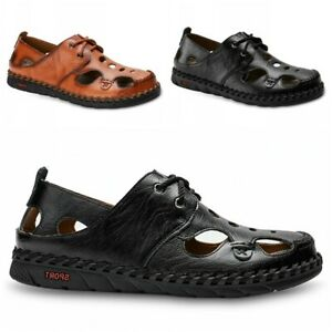 Men Casual Breathable Hand Stitching Faux Leather Sandals Lace Up Loafer Shoes L